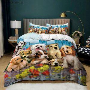 Bedding Sets Cartoon Duvet Cover 2 3 Piece Pet Animals Lovely Dog Bedspread Kids Queen King Double Single Bed Set