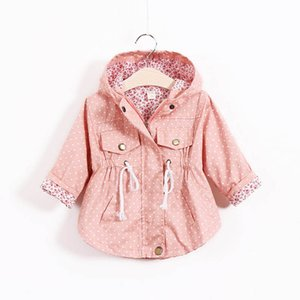 Tench Coats Kids Trench Children Girls Baby Wear Spring Autumn Cotton Long Sleeve Dots Jackets Hoodies Outwear 1-5Y B4933