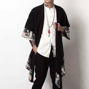 Japanese Kimono Cardigan Men Haori Yukata Male Samurai Costume Clothing Jacket Mens Shirt KK001 Ethnic