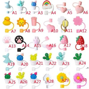 Creative Silicone Straw Tips Cover Reusable Drinking Dust Cap Splash Proof Plugs Lids Anti-dust Tip Sunflower Cherry Blossom HHD11116