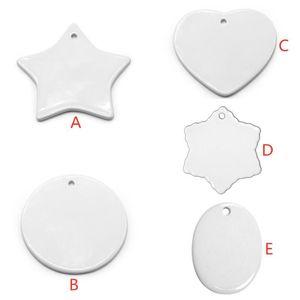 Blank White Sublimation 5 Styles Heat Transfer Printing DIY Ceramic Ornament Heart Round Christmas Decor Pendant U52Q