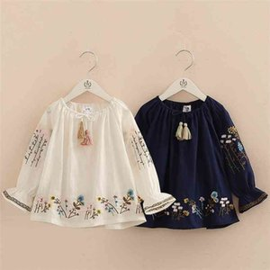 Spring Autumn 2-10 Years Cotton Navy Blue White Long Flare Trumpet Sleeve Embroidery Baby Kids Girls Tassels Blouses Shirt 210331