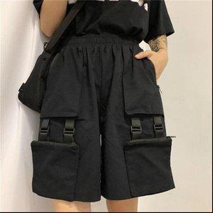 Womens Shorts NiceMix harajuku cargo trousers black Above Knee Length high waist loose casual wide leg bike jogger female