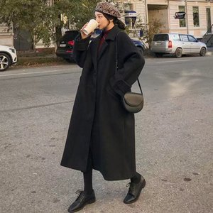 Winter long women's coat fashion Korean style retro versatile windbreaker casual warm woolen oversize college