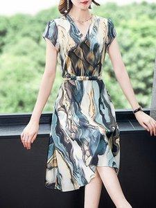 dresses Guantu mother ice silk skirt female spring summer 2021 V-ne waist show thin temperament watercolor