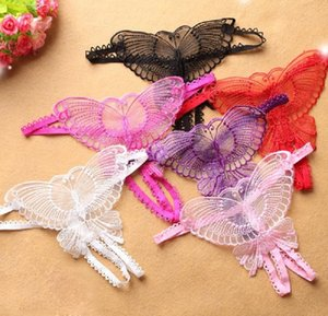 Sexy Thongs Women Lace Hollow Out Butterfly Shaped G-String Open Crotch Underwear Lingerie Panties Women's