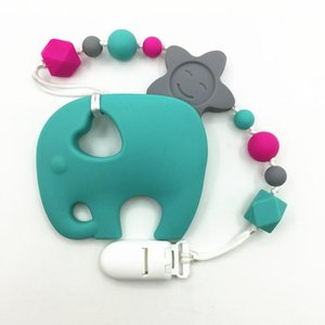 Pacifiers # BPA Бесплатные силиконовые CLIPIS CLIPS с большим слоном Tehher Bead Clip Holder Worther для ребенка