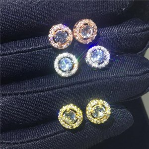 Other Trendy Genuine 925 Sterling Silver Stud Earring Lab Diamond Cz Engagement Wedding Earrings For Women Charm Tennis Party Jewelry