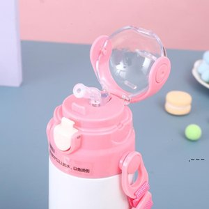 12oz Sublimation Blank Water Bottle Children's Vacuum Cups Kettle DIY Simple Portable Drinking Cup With Rope Straw sea ship EWE5995