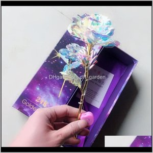 Decorative Flowers Wreaths Flashing Luminous Flower Golden Wedding Decor Birthday Mothers Valentine Day Boxed Gift 24K Gold Foil Plate Zplab