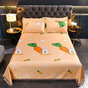 Sheets & Sets Ice Silk Mat Summer Home Bedroom Dormitory Bedding 3pcs Set 1Bed Sheet+2case Washable Soft King Queen Size J8684