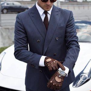 2021 Classy Navy Blue Pinstripe Wedding Tuxedos Mens Suits Slim Fit Peaked Lapel Prom BestMan Groomsmen Blazer Designs 2 Piece Set( Jacket+Pants+Tie) Custom Made