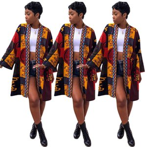 68% OFF D9055 women's Totem printed long sleeve sexy trench coat