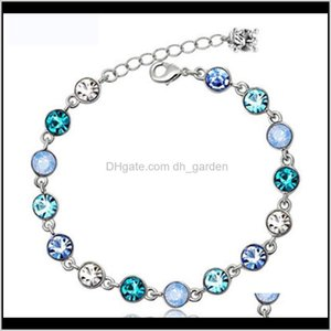 Tennis Bracelets Drop Delivery 2021 Sier Plated Starlight Female Models Crystal Bracelet Cute Fashion Wild Retro Jewelry Super Flash Birthsto