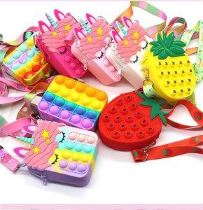 DHL Fast Fidget Toys Sensorische Mode Favor Bags Kid Push Bubble Rainbow Anti Stress Pädagogische Kinder und Erwachsene Dekompression Spielzeug Großhandel