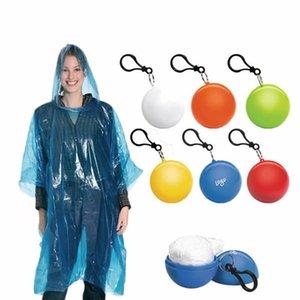 Рекламный водонепроницаемый напечатанный одноразовый дождевой брелок Ball Poncho