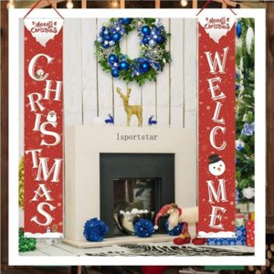 2021 Couplet Door Banner Porch Sign Christmas Halloween Hotselling Christmas Holiday Hanging Decoration Porch Sign Decorative Family Party C2991