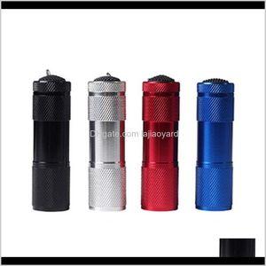 Alliage d'aluminium portable UV Violet 9 LED Lampe de torche de 30LM Mini 4 Couleur ZZA416 PNRRR0 lampes de poche Torches Qellg