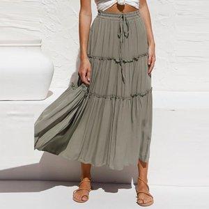High Waist Frills Long Skirt For Women Chiffon Half-length Skirt Printed Beach Elegant Ladies Skirts New 2021 Summer
