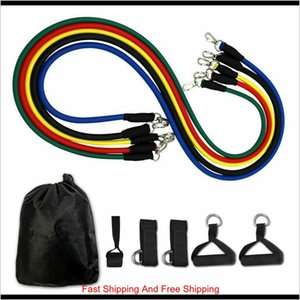 Supplies Sports Outdoors Us Stock 11Pcsset Pull Rope Fitness Exercises Resistance Bands Latex Tubes Pedal Excerciser Body Training Wor