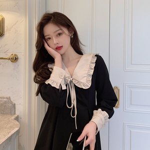 Black French Hepburn Platycodon skirt autumn and winter 2020 new style slim waist dress fashion8V8P