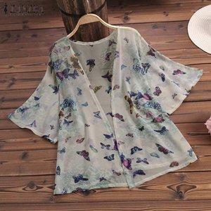 Zanzea 2019 verano mujeres kimono cardigan damas blusa camisa casual floral estampado blusas tops blanco blusa feminina más tamaño1