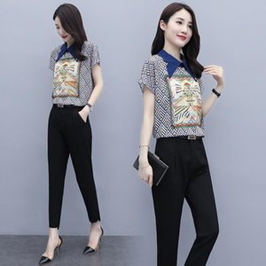 Printed Chiffon Shirt Casual Pants 2 Piece Sets Womens Outfits Fashion Professional Office Plus Size Clothes Summer And Autumn Two Dress
