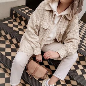 Tweed Women Pearl Button Shirts 2021 Autumn Fashion Ladies Oversie Thick Shirt Streetwear Female Outfits Cute Girls Chic Women's Blouses &