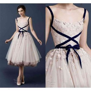 Paolo Sebastian Prom Dress 3D Lace Applique Tea Length Prom Dresses High Fashion Tiered Tulle Evening Gowns