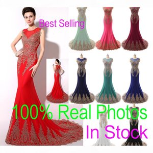 In Stock Sheer Neck Formal Evening Prom Dresses Lace Appliques Mermaid Red Black Blue Mint Pageant Mother Gowns 2019 Real Image Arabic