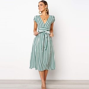 Lossky Summer Women Stripe Long Dress Sexy Deep V-neck Elegant Ladies Dresses Womens Clothing Midi Dress For Women Casual 210406