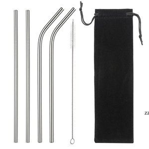8.5 Inches Eco Friendly Reusable Straw Stainless Steel Straw Metal Smoothies Drinking Straws Set with Brush Bag HWB10506