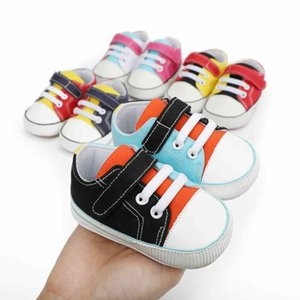 Walking shoes Fashion Stitches Color Baby Peuter Canvas Crib Shoes Boy Girls Sneaker Prewalker Casual 0 18M 210827