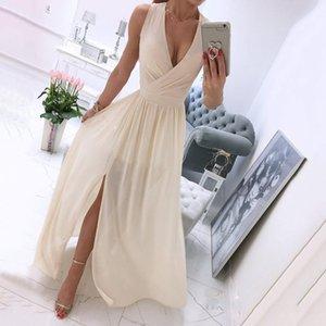 Casual Dresses Elegant Deep V-Neck Summer Women Party Dress Sexy Solid Sleeveless Dancing Ladies Fashion Slim Fitness Princess Long