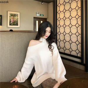 터틀넥 여성의 니트 스웨터 패션 숙녀 옷 섹시한 어깨 누설 불규칙한 단색 두꺼운 특대 스웨터