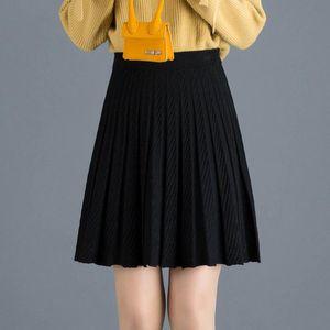 Skirts 2021 Autumn & Winter Korean Elastic High Waist Slimming Simple Versatile Casual Women Knitted Pleated Skirt