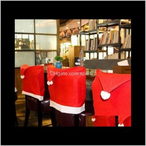 Festive Supplies Garden Drop Delivery 2021 Chair Covers Santa Clause Red Hat For Dinner Decor Home Decorations Party Christmas Decoration Eea