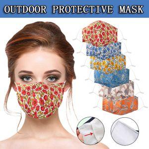 Мода Цветочная лицевая маска для женщин Моющийся ротовый рот для лица с фильтром Pocket FaceMask Украшение