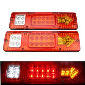 2pcs 12V 19 LED Car Trailer Truck Rear Tail Lights Stop Brake Turn Signal Light Indicator Lamp Taillight Caravans Bus RV Camper