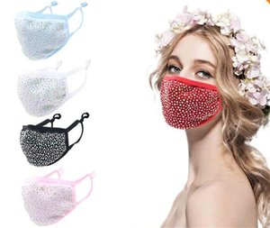 Wholesale-Colorful Diamond Cotton Face Masks Bling Protective fashion Mouth Masks Washable Reusable Women Rhinestones Face Mask