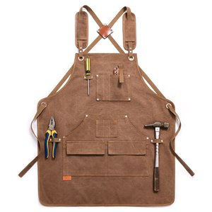 Durable Goods Heavy Duty Waxed Unisex Canvas Work Apron with Tool Pockets Cross-Back Straps Adjustable for Woodworking Painting