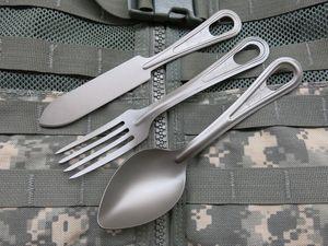 العنبات ta2 النقي تيتانوم ماتيل 304 المقاوم للصدأ التخييم المطبخ المائدة messkit سكين شوكة ملعقة الولايات المتحدة العسكرية الجيش نمط التكتيكية الرياضة بقاء التسلق