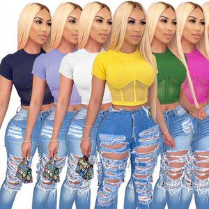Women Womens T Shirts Ribbed Tops Short Sleeve Skinny Crop Top High Elasticity Teeshirt Raised Lines Pattern