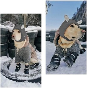 Dog shoes long tube cotton suitable for snow winter two pairs