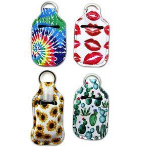 HOT 18 Designs 4pcs set Neoprene Chapstick Wristlet Hand Sanitizer Holder Earbuds Case Keychains Marble Series Lipgloss Bag Key Ring 548 V2