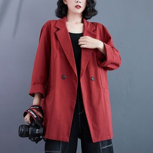 Women Casual Cotton Blazer Jackets New Autumn Korean Style Vintage Solid Color Loose Ladies Elegant Outerwear Coats S2257 210412