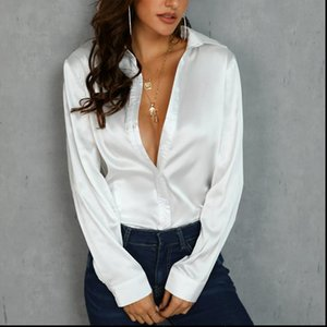 Shyloli Satin White Womens Shirt Casual Blouse Women Long Sleeve Turn Down Collar Office Lady Shirts Plus Size Blusas