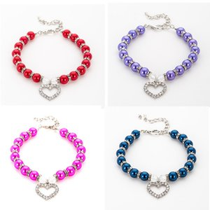 Imitation Pearl Rhinestone Pendants Cute Dog Necklace Pet Collar Accessories Jewelry Neck Chain for Small Dogs Large Dog Cats