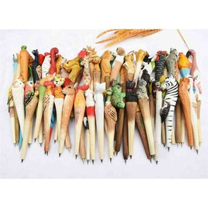 Folk Wooden Art Animal Carving Creative Ballpoint Pen,animal Shape Pen, Wood Pens, Hand Carved Pen