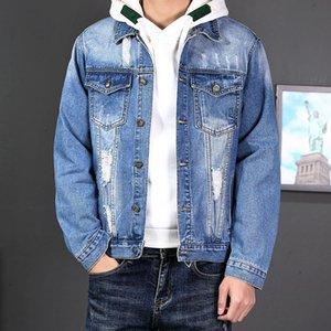 남자 재킷 남자 고민 된 푸른 데님 재킷 찢어진 구멍 슬림 피트 코트 캐주얼 클래식 가을 streetwear 디자이너 드롭 의류